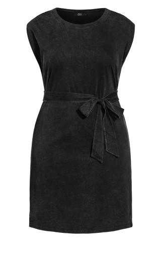 Sharp Shoulder Dress - black