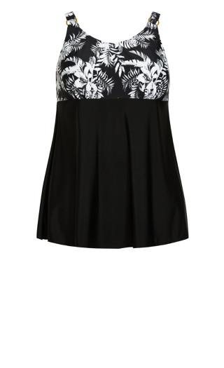 Ring Print Swim Dress - black foliage