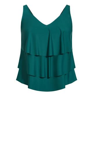 V Tiered Tankini Top - emerald