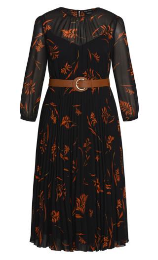Leaf Floral Dress - black