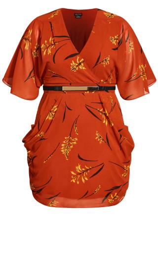 Leaf Floral Wrap Dress - rust