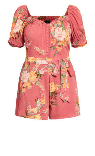 Grand Floral Playsuit - guava