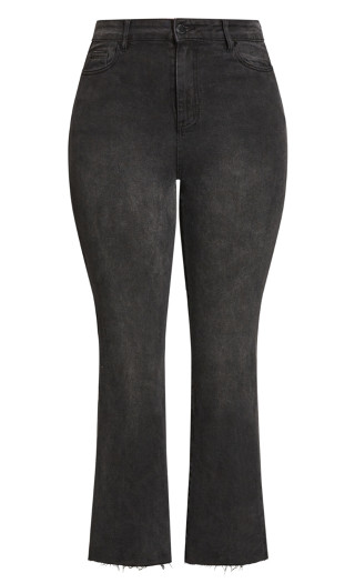 Harley Cropped Flare Jean - black wash