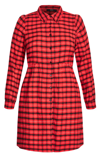Youth Check Dress - red