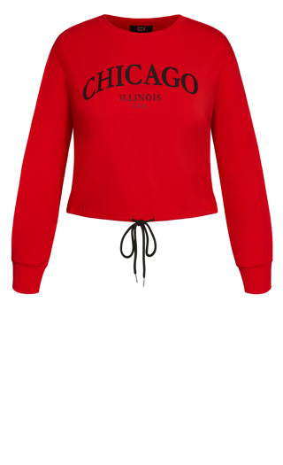 Check In Sweat Top - red