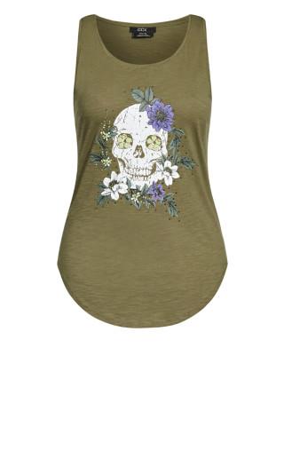 Skull Singlet - khaki