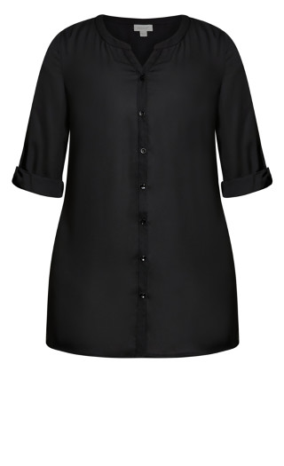 Button Front Tunic - black
