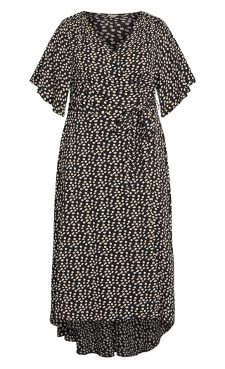Viv Wrap Print Maxi Dress -  black daisy