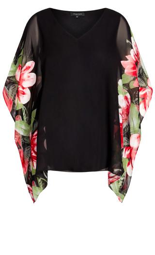 Bella Overlay Top - black floral