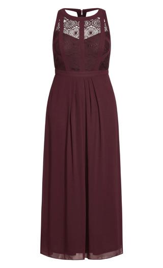 Paneled Bodice Maxi Dress - bordeaux