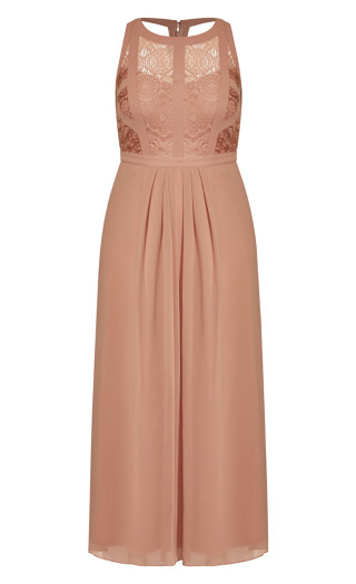 Panelled Bodice Maxi Dress - rose pearl