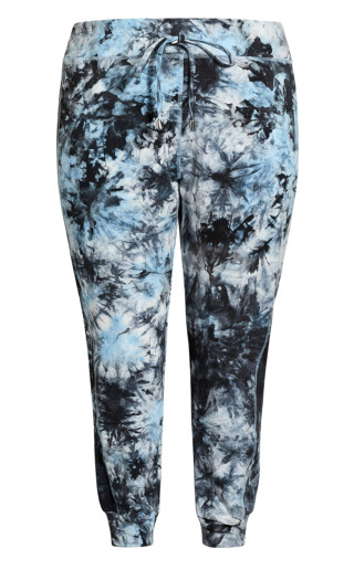 Print Track Pant - blue tie dye