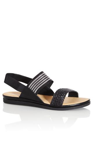 Jenna Texture Sandal - black stripe