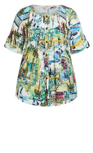 Sandy Pintuck Print Shirt - ivory
