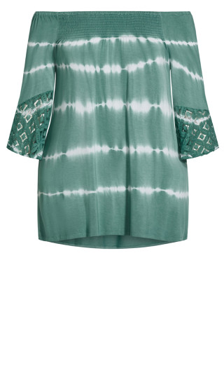 Serena Tie Dye Lace Top - turquoise