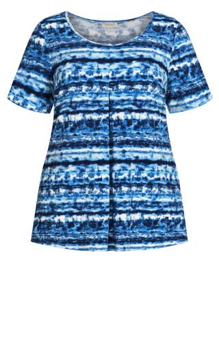 Liv Pleat Front Tunic - blue tie dye