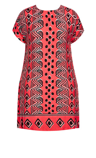 Ruby Placement Dress - watermelon