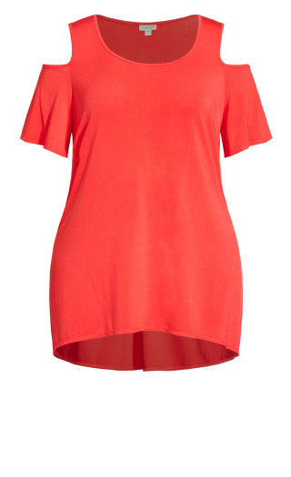 Claire Cold Shoulder Tunic - coral