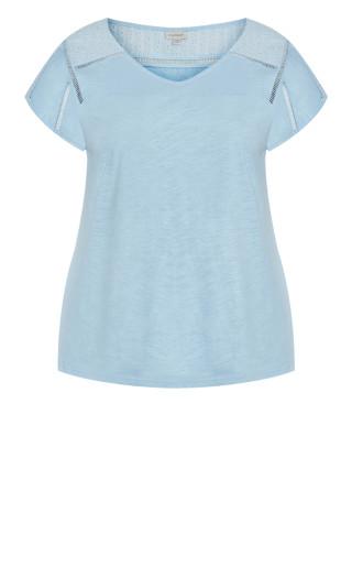 Keira Lace Tee - powder blue