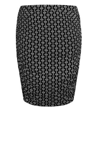 Ruched Print Skirt - black geo