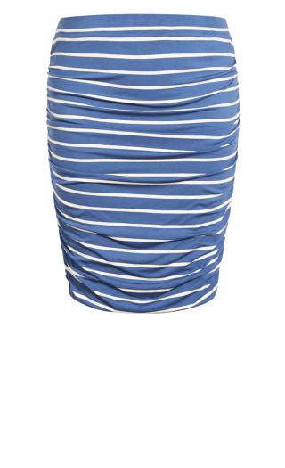 Ruched Print Skirt - blue stripe