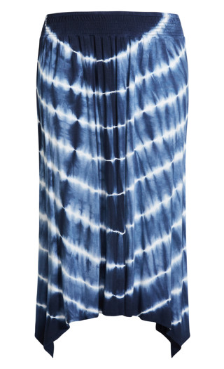 Molly Print Maxi Skirt - navy tie dye