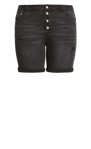 Adley Distressed Short - black wash