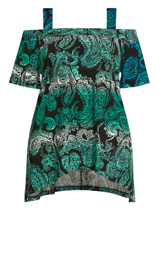 Cold Shoulder Tunic - turquoise paisley