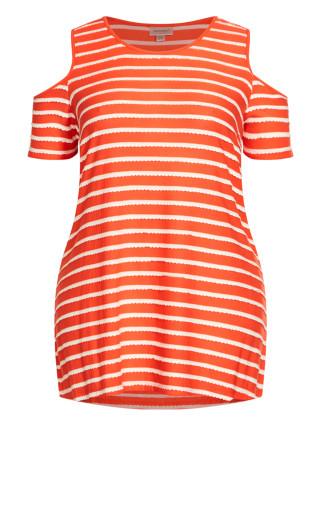Stripe Cold Shoulder Tunic - tangerine