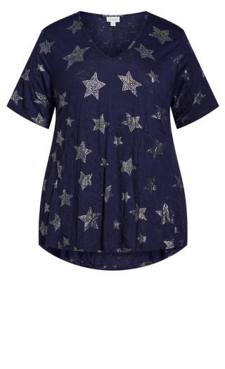 Foil Star Tunic - navy