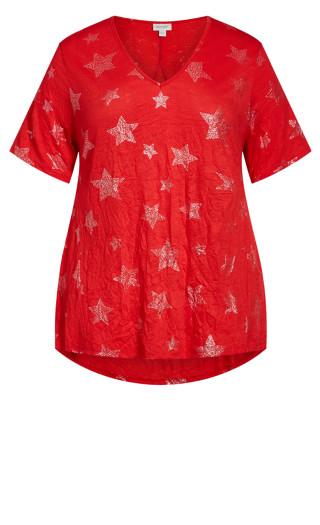 Foil Star Tunic - scarlet