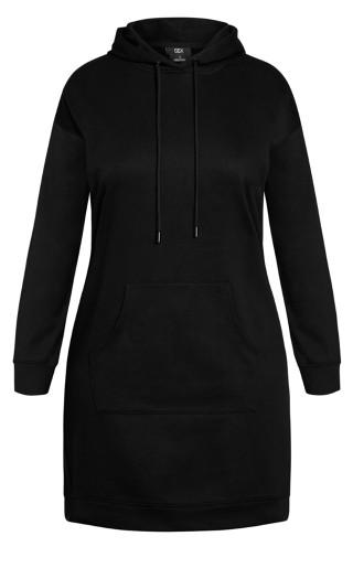 Hoodie Chillax Dress - black