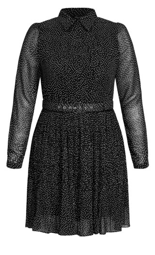 Collared Spot Dress - black