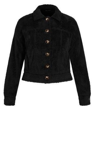 Teddy Button Jacket - black