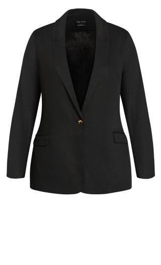 Button Blazer Jacket - black