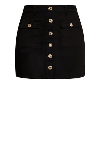 Utility Button Skirt - black