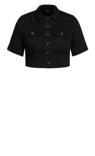 Crop Button Jacket - black