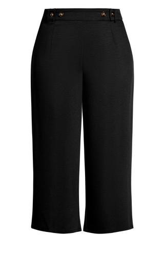 Button Crop Pant - black