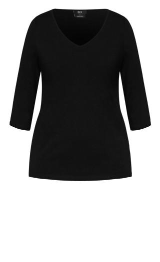 Sweet 3/4 Sleeve Top - black