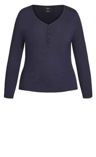 Button Long Sleeve Top - navy