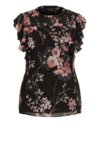 Shirred Blossom Top - black