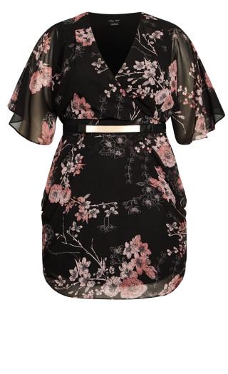 Bold Blossom Wrap Dress - black