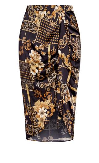 Barocco Floral Skirt - black
