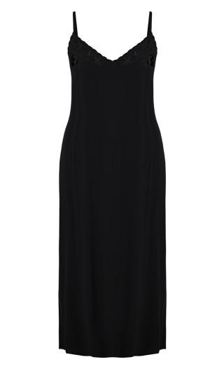 Embroidered Angel Dress - black