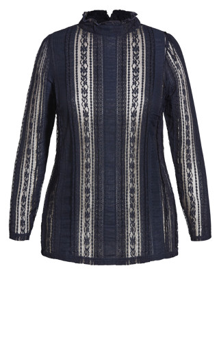Panelled Lace Top - navy