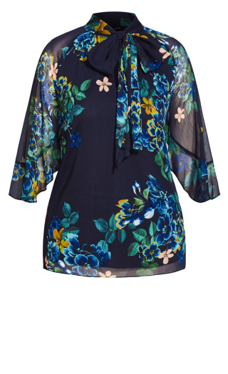 Midnight Pansy Top - blue
