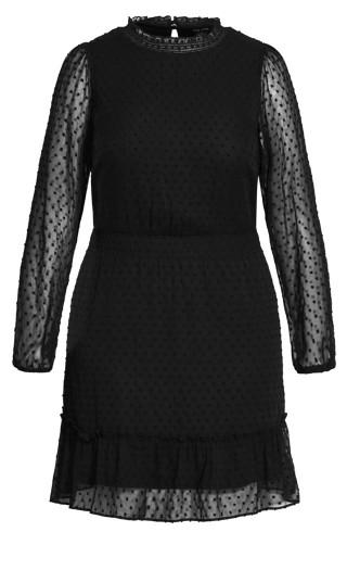 Dobby Tiered Dress - black