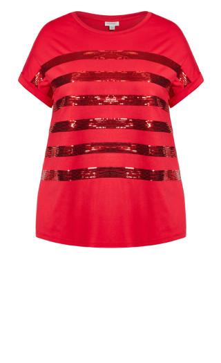 Maddie Sequin Top - ruby