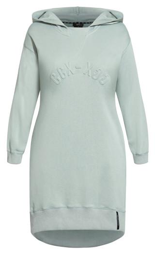 Hoodie Love Dress - dusty sage