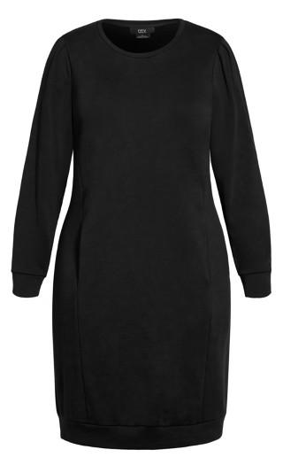Rippled Shoulder Dress - black